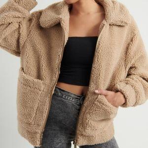Garage m/l beige sherpa teddy jacket bnwt